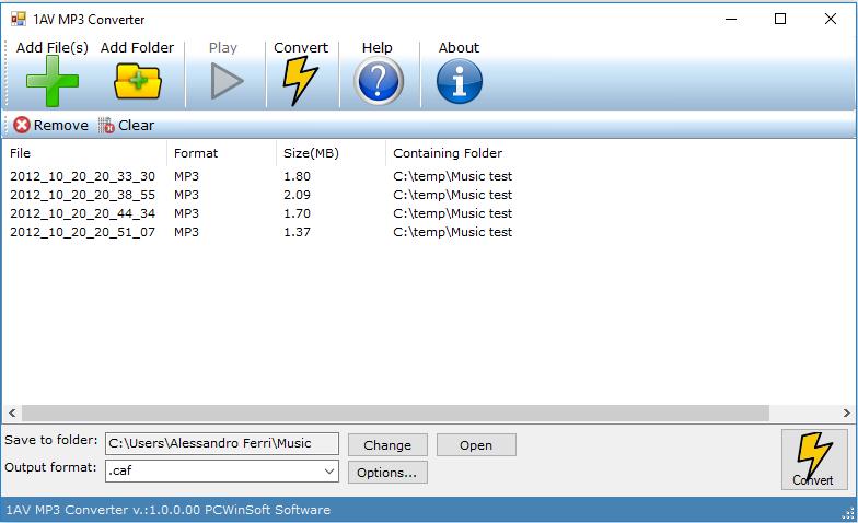 1AV MP3 Converter: sound file converter software for pc
