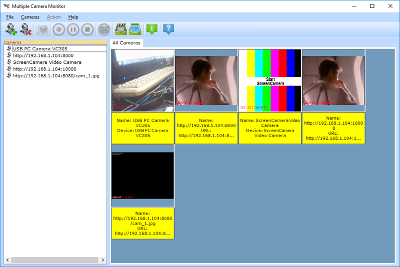Multiple Camera Monitor is a multi camera surveillance tool. quick Screen Shot
