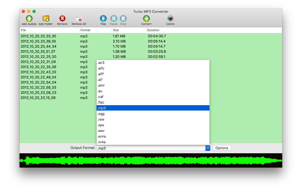 Turbo MP3 Converter: sound file converter software for pc